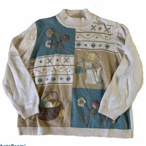 Vintage Embroidered Cat Granny Sweater
